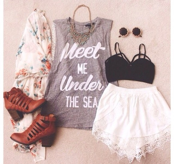 t-shirt quote on it white black shorts boots jewels top grey sunglasses lace floral cardigan shoes