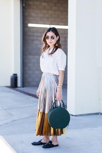 shoes white shirt silver and gold pleated skirt dark green handbag black mules blogger round sunglasses