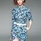 Blue floral printed belted waist jumpsuit