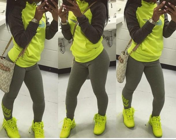 Neon green nike hoodie
