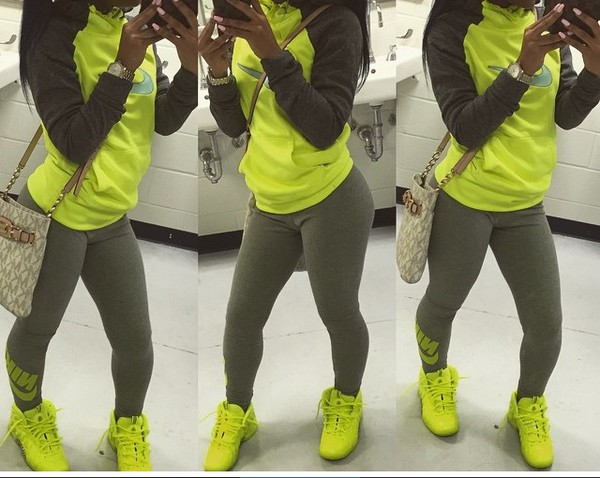 Hoodie nike running shoes fashion style sportswear lime green grey sweatpants - Wheretoget