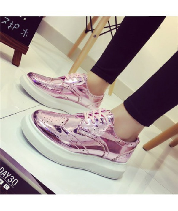 shoes pink fashion sporty metallic BREATHABLE GLITTER HOLOGRAM PLATFORM SHOES trendy teenagers style cool it girl shop sneakers boogzel derbies brogue shoes pink shoes