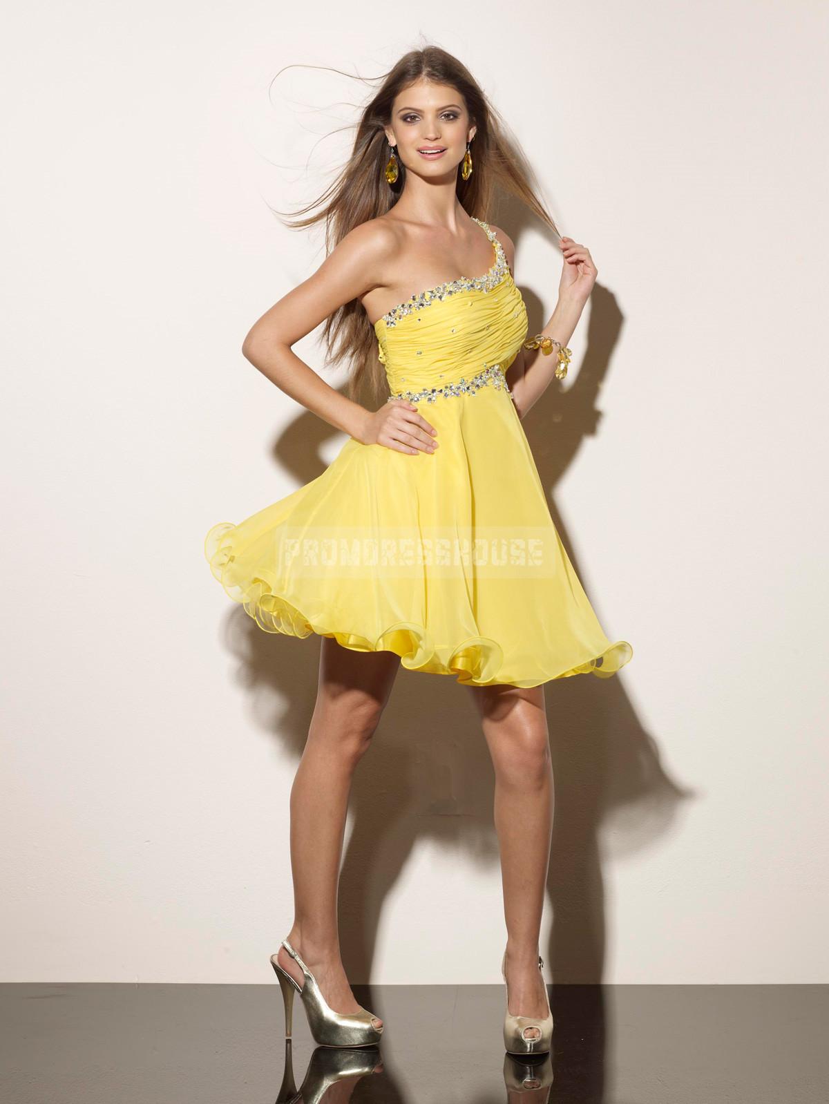 Beading Colorful Baby Doll One Shoulder Keyhole Short Length Prom Dress - Promdresshouse.com