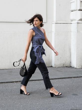 viennawedekind blogger top jeans jewels bag shirt shoulder bag sandals mid heel sandals spring outfits one shoulder