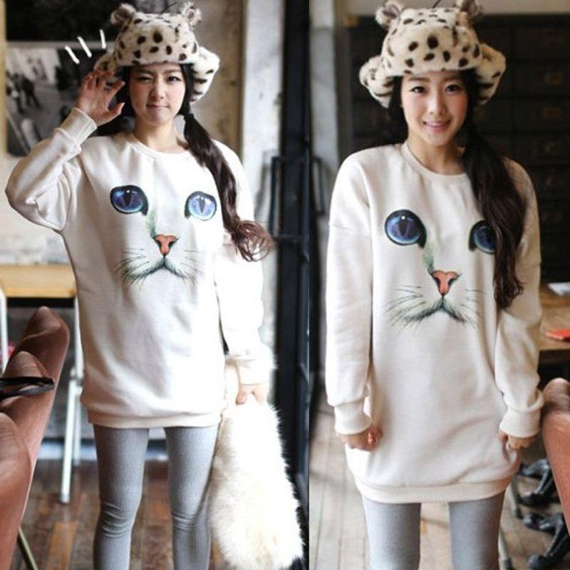 Sweet Womens Eyes Cats Face Print Pullover Sweatshirt Jumper Sweater New Hot