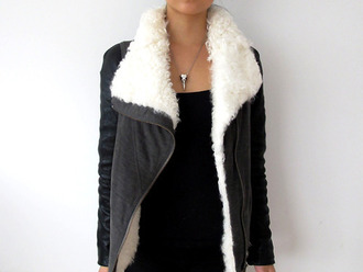 jacket winter jacket cozy cozy jacket black jacket black girl fashion zipper jacket grey jacket sweater fur shearling leather jacket grey fur jacket