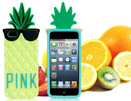 Creative pineapple with glasses design silicone case for iphone 5 (yellow)
