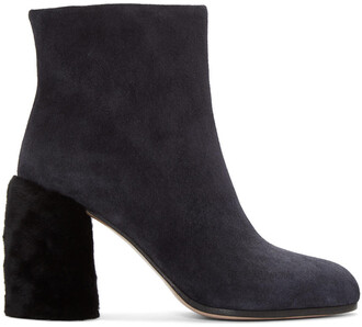 shearling boots boots navy suede shoes