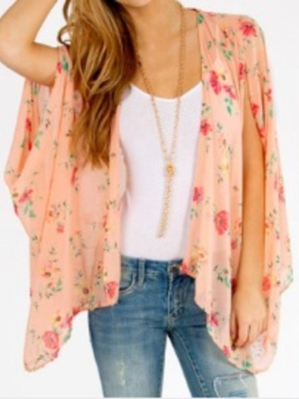 floral flowers blouse kimono orange amazing love it pleaseeee