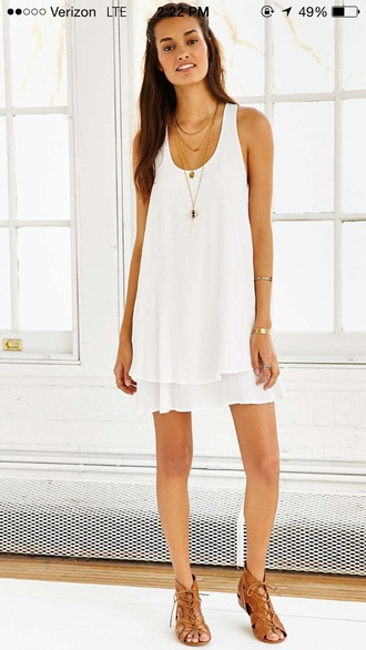 dress white white dress frock flowy racerback