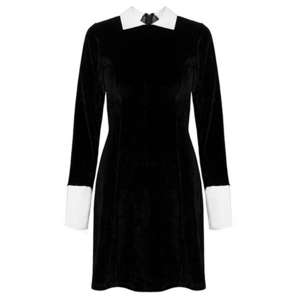 dress black dress white collar goth grunge velvet vintage gothic grunge collared dress