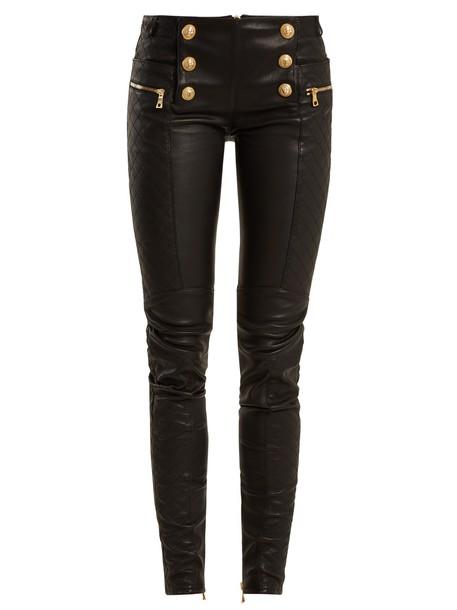 Balmain leather black pants