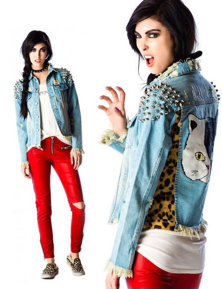 jacket rivet jeans cat leopard demin coat