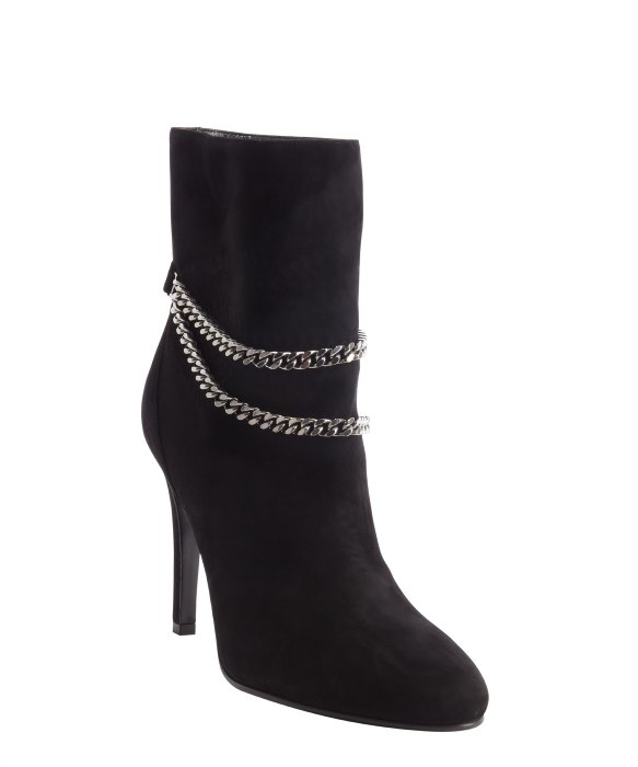 Saint Laurent black suede chain strap detail boots | BLUEFLY up to 70% off designer brands