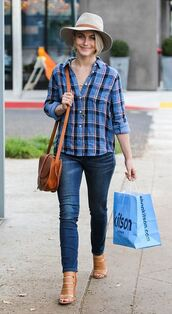 jeans,streetstyle,julianne hough,shirt,hat,flannel,shoes
