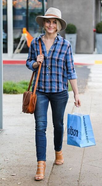 jeans streetstyle julianne hough shirt hat flannel shoes