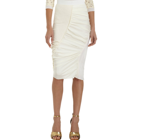 Nina Ricci Gathered Asymmetric Pencil Skirt in Cream as seen on Kim Kardashian | Star Style Celebrity Fashion