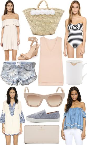 lemon stripes blogger pink dress off the shoulder beach bag stripes one piece swimsuit denim shorts pink top nude dress blue dress blue sneakers