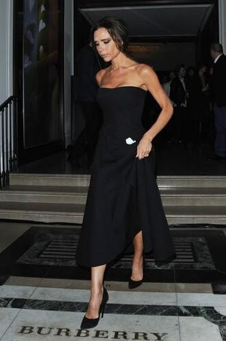 dress strapless victoria beckham pumps bustier dress bustier midi dress black dress