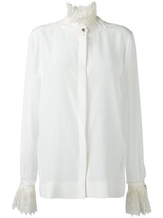 shirt collar shirt women lace nude silk top