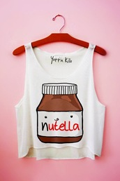 tank top,nutella,white,beautiful,ect,shirt,nutalla,blouse,top,cartoon,nutella crop top,summer outfits,cute skirt,crop,cropped,chocolate,funny,crop tops,t-shirt,white top,white t-shirt