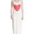 White Heart Print Sleeveless Slit Vintage Dress
