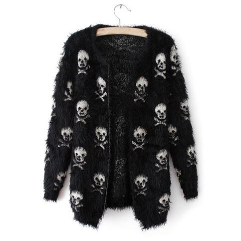 Cute skull allover soft knit mohair cardigan