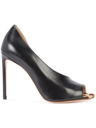 hair women pumps leather black shoes