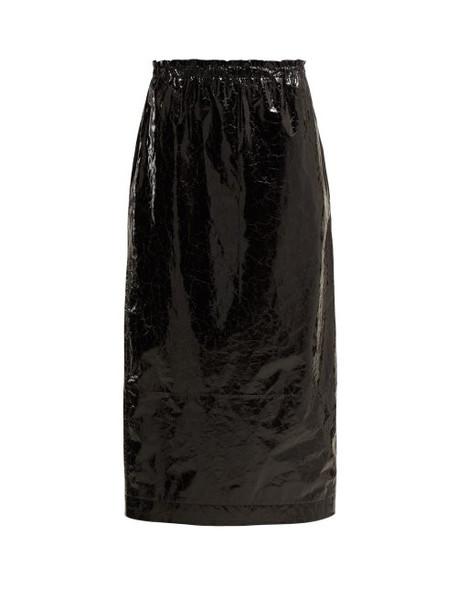 Raey - Elasticated Waist Crinkled Leather Skirt - Womens - Black
