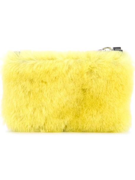 fur women clutch yellow orange bag