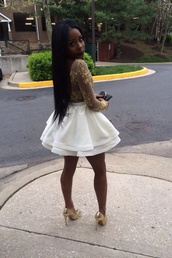 dress,white,short,gold,lace,style,gold sequins,sexy dress,homecoming dress,prom dress,short prom dress,short homecoming dress,shirt,top,skirt,shoes