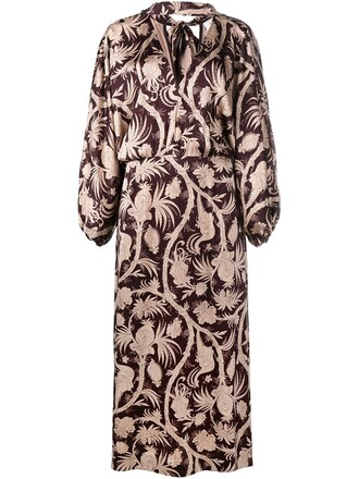 gown oversized women floral brown dress