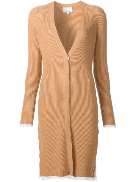 3.1 Phillip Lim cardigan ribbed cardigan cardigan long women spandex wool brown sweater