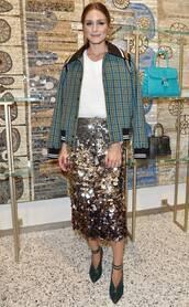 shoes,olivia palermo,blogger,blogger style,skirt,midi skirt,sequins