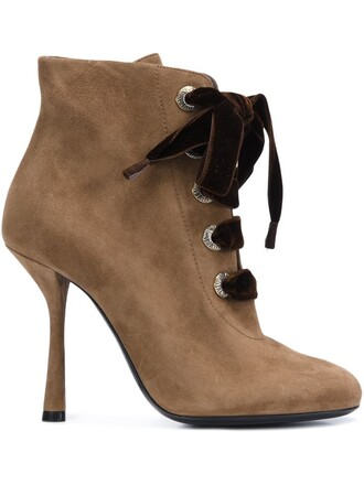 women boots ankle boots lace suede brown shoes