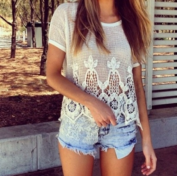 shirt white pretty shorts