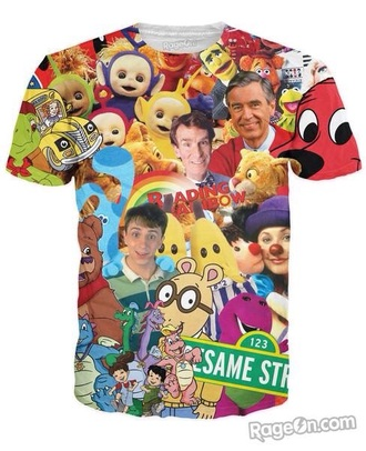 cartoon t-shirt barney 90s style