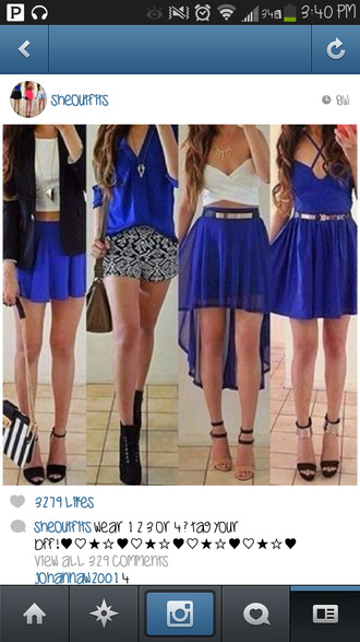 skirt blue skirt high low skirt gold belt