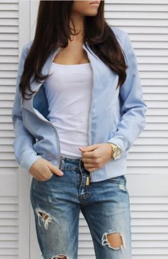 jacket blue jacket bomber jacket