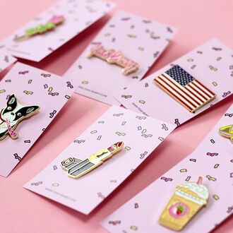 home accessory yeah bunny pins cute dog coffee american flag lipstick starbucks coffee