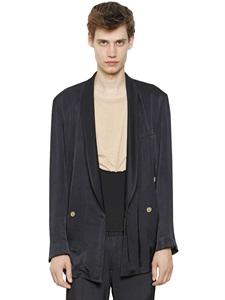 Double breasted viscose satin jacket
