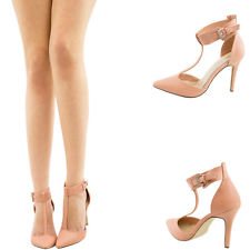Nude Pointy Toe T Ankle Strap Mary Jane Med High Stiletto Heel Women Pump Sandal | eBay