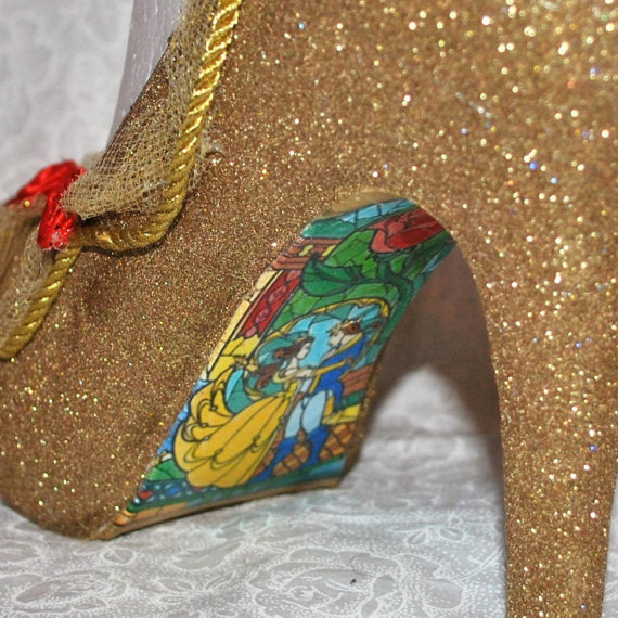 Beauty And The Beast Gold Wedding Shoes