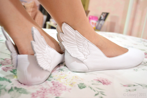 shoes white flats angel angel wings leather