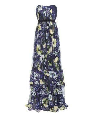 gown floral print silk blue dress