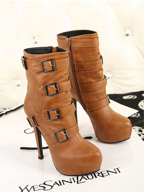 Women's PU Buckle Side Zip High Stiletto Boots  -  BuyTrends.com