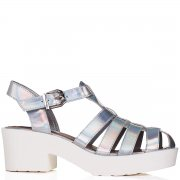 Buy ocean chunky sole platform gladiator sandal shoes silver hologram online