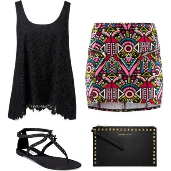 skirt aztec skirt tribal skirt shirt lace shirt black