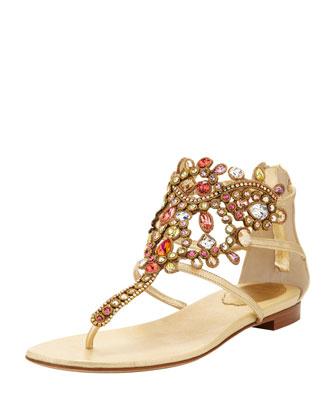 Rene Caovilla Chandalier Bejeweled Ankle Flat Sandal - Bergdorf Goodman