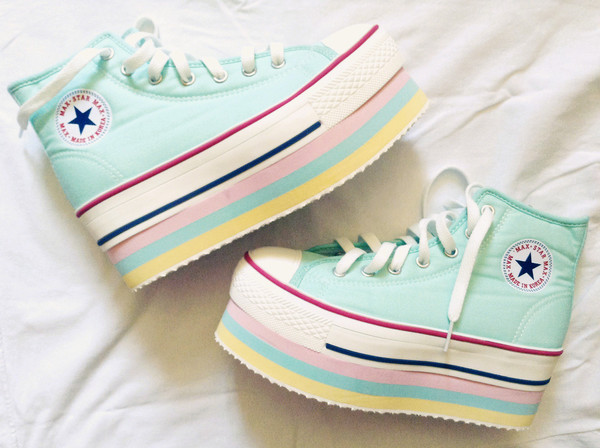 shoes grunge pastel pastel goth pastel grunge pastel pink pastel blue harajuku harajuku harajuku japanese fashion japanese streets kawaii tumblr shoes tumblr style pastel yellow platform shoes fairy kei tumblr converse high top converse platform converse platform sneakers goth hi tops emo scene japan girly punk cute rainbow creepers